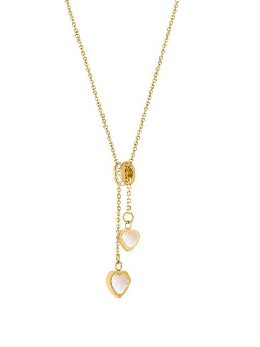 2017 [steel necklace] Titanium Steel Shell Minimalist Heart  Pendant